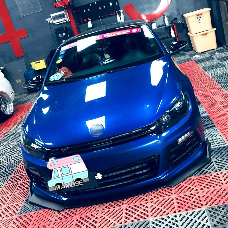 Front Bumper Spoiler Protector Plate Lip Splitter Body Kit Carbon Surface Decorative Strip Shovel For VW Scirocco R 2009-2015